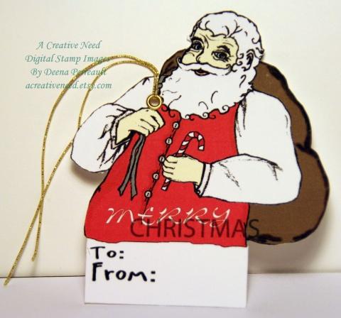Christmas Tag Santa