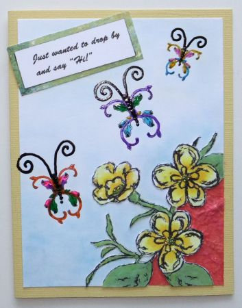 butterfly and blooms card