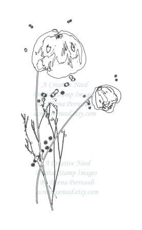 A Creative Need Watercolor Flowers Digital Stamp Preview