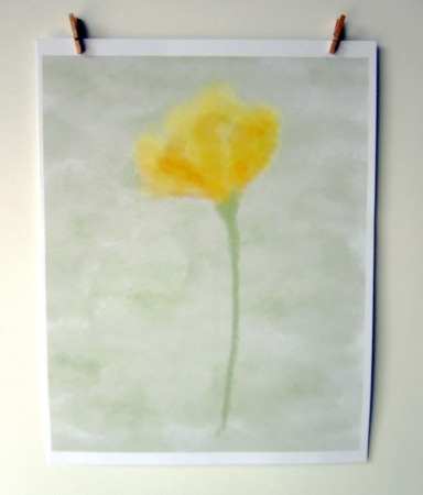 ACN Single Yellow Watercolor Flower on Pale Green BG Preview