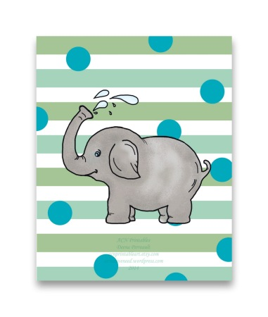 ACN Elephant Circus Dots Childs Art Print Preview