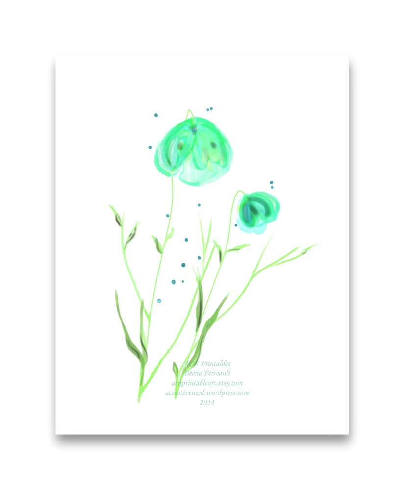 ACN Ethereal blue Floral Watercolor Print Preview
