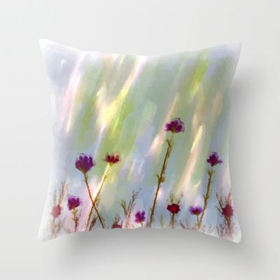 impressionist Wild Flowers throw pillow