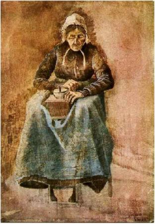 Woman-Grinding-Coffee Vincent Van Gogh