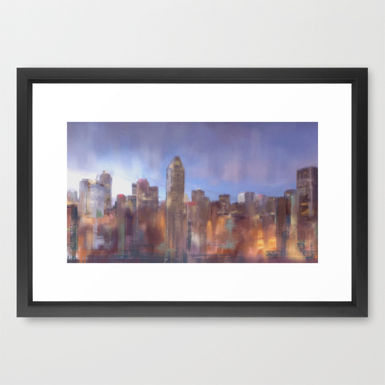 Montreal skyline signed v2 crop Framed